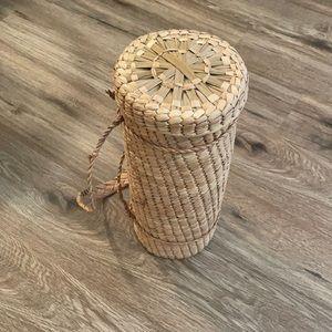 Vintage Woven Travel Basket / Bag with Strap
